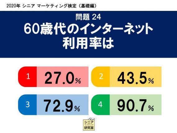 2020年シニアマーケティング検定(基礎編)  問題24 60歳代のインターネット 利用率は   (1)27.0%    (2)43.5%    (3)72.9%    (4)90.7%