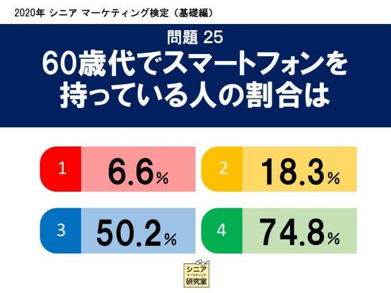 2020年シニアマーケティング検定(基礎編)  問題25 60歳代でスマートフォンを持っている人の割合は   (1)6.6%    (2)18.3%    (3)50.2%    (4)74.8%